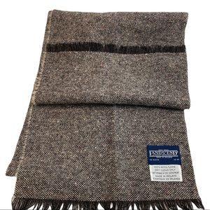 LANDS' END Brown Tweed Wool Made In Ireland Scarf